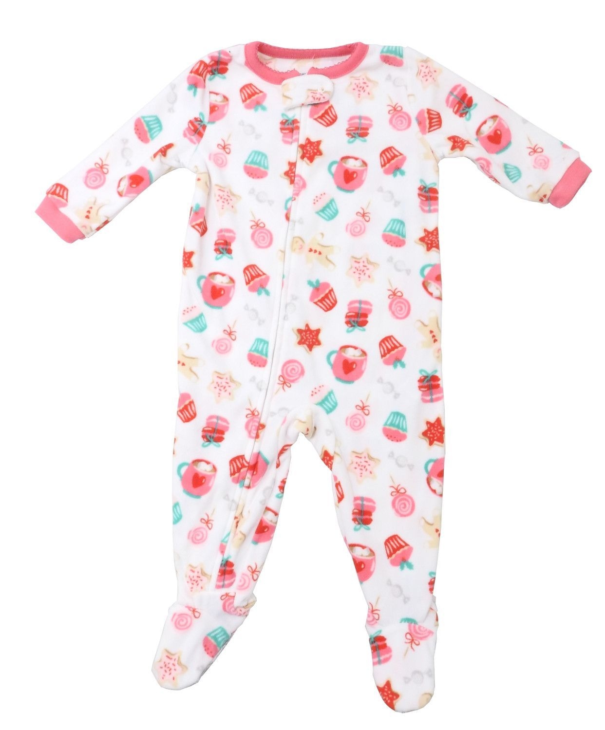 Carters Baby Girls Size 12 Months Fleece Footed Gingerbread Sleeper, Multi-Color