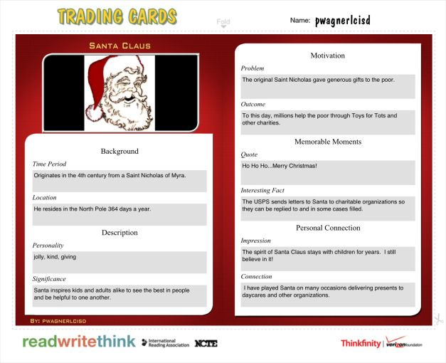 Santa Claus Trading Card -- Trading Cards for the Classroom - sample trading card