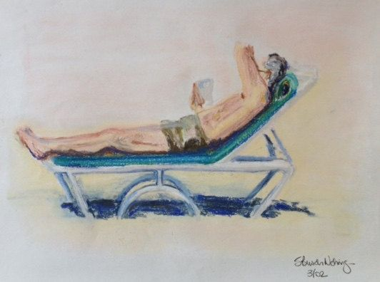 Beach Reader Drawing by SBNCreative on Etsy