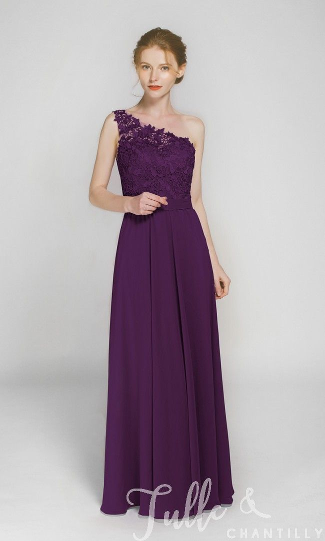 Long One Shoulder Lace Bridesmaid Dress with Chiffon Skirt TBQP363 ...