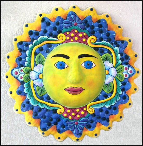 Large Hand Painted Metal Sun Wall Decor - Haitian Metal Art for the ...