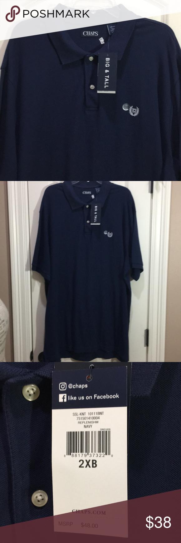 Chaps 2xb 2tf Navy Blue Polo Shirt W Tags Navy Blue Polo Shirts Blue Polo Shirts Shirts