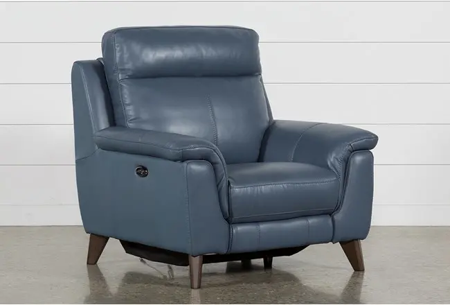 Moana Blue Leather Power Reclining Chair With Usb Recliner Chair Comfy Sofa Chair Recliner