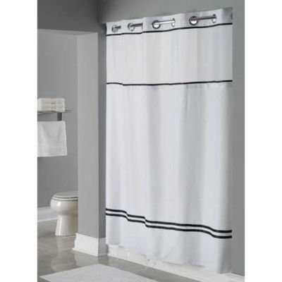 Focus White With Black Stripes Hookless Shower Curtain With