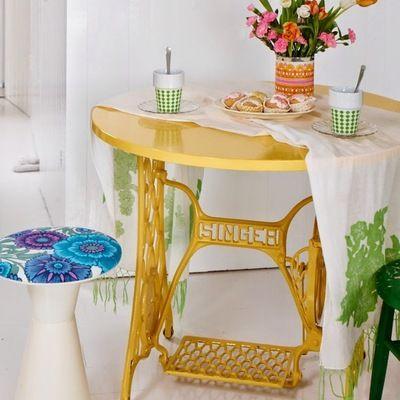 Tavolo riciclato giallo recicling sewing machine tables singer sewing tables e furniture - Tavoli per macchine da cucire ...