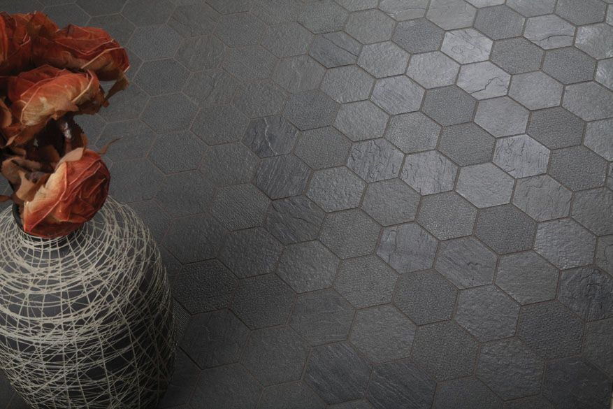 Gray Hex And Gray Grout Hexagon Series Everstone Tile