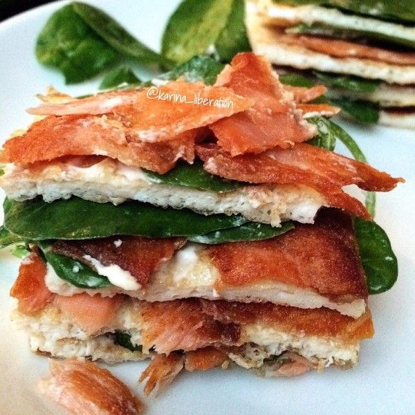 Crispy Smoked Salmon Spinach And Cream Cheese Egg Stack 271 Calories Weight Watchers 5 Propoints Pointsplus Recipe Egg Omelette 1 Whole Egg 1 2 Cup
