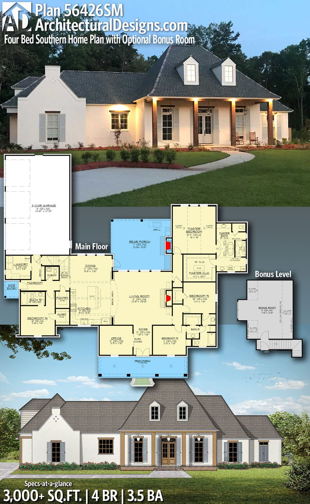 Plan 56426sm Four Bed Southern Home Plan With Optional Bonus Room Southern House Plans Acadian House Plans House Plans Farmhouse