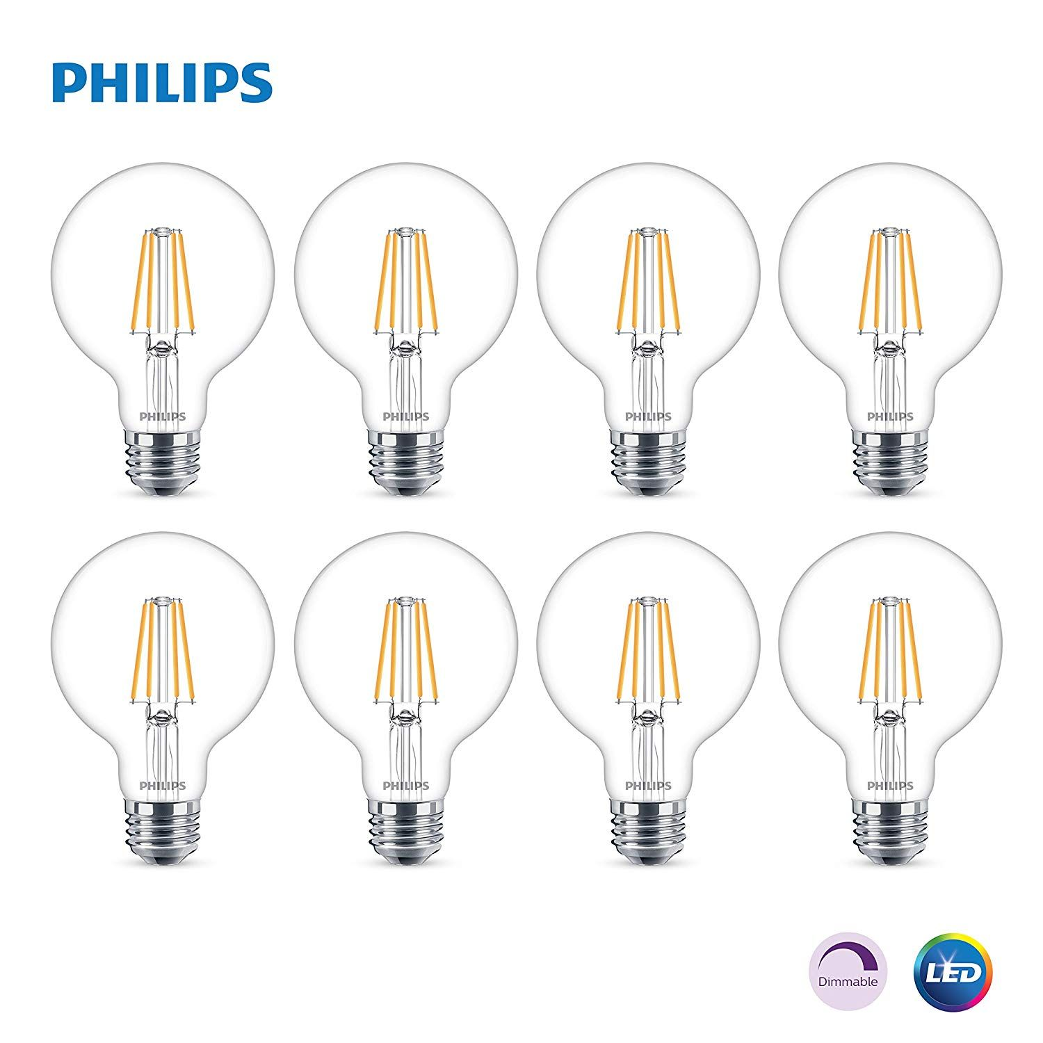Philips Led Dimmable G25 Light Bulb 5000 Lumen 5000 Kelvin 6 Watt 60 Watt Equivalent E26 Base Clear Daylight 8 Pack See T Philips Led Led Bulb Led