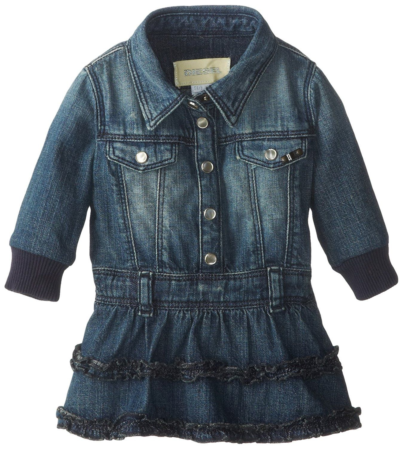 Diesel Baby Girls' Dirpyb Denim Dress with Ruffles and Bodysuit Inside >> Amazing product just a click away  : Baby clothes