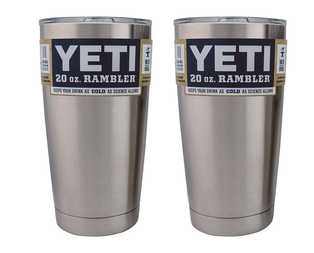 Set Of 2 Yetl 20 Oz Rambler Tumbler W Lid Silver Stainless