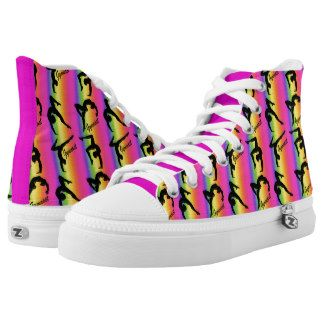 COLORFUL RAINBOW GYMNASTICS HI TOP SNEAKERS PRINTED SHOES Watch your  Gymnast dazzle, sparkle and shine
