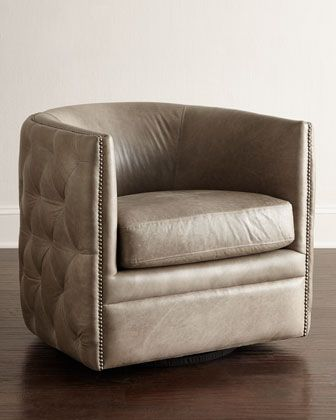 Swivel Club Chair With Ottoman Office Under 300 Abriola Leather By Bernhardt At Horchow Erie Beach