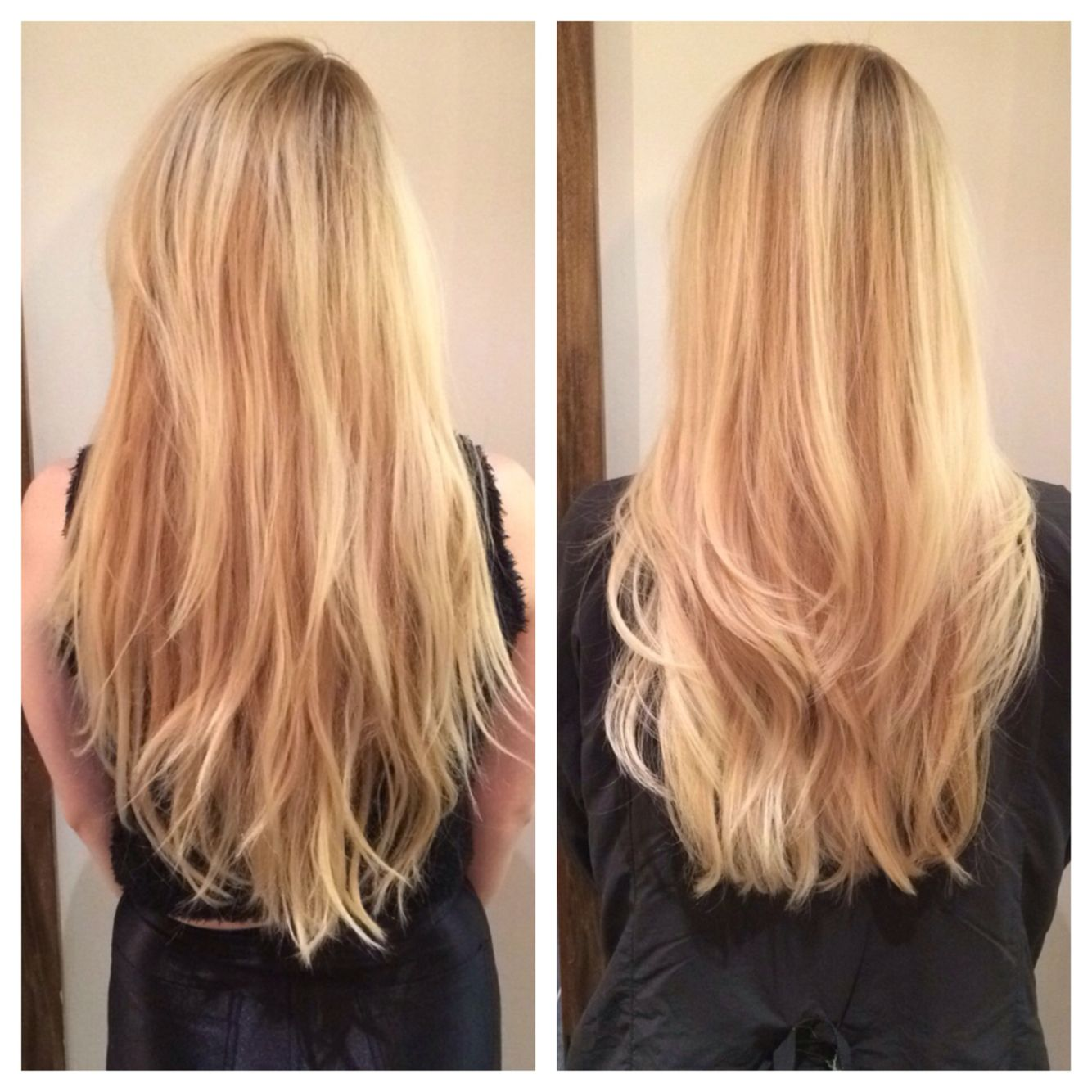 Platinum Hair Long Layers Before And After Blonde Layers Long