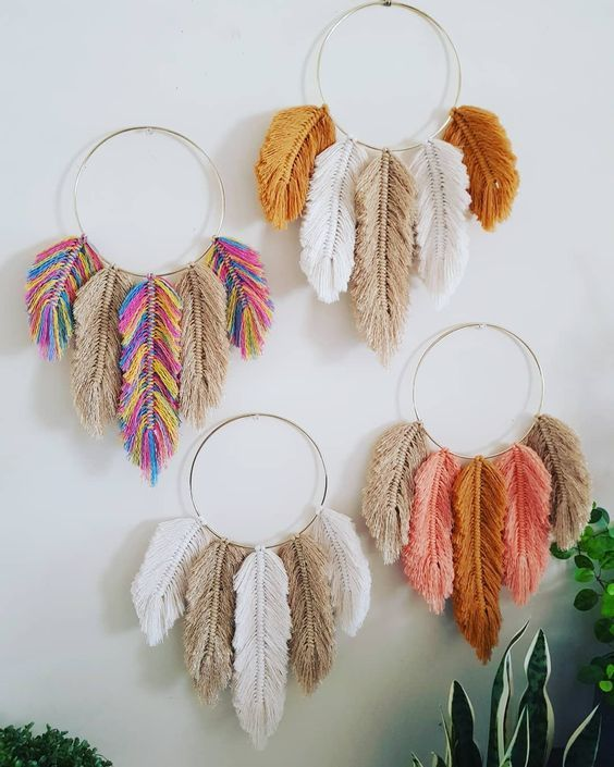 """K N O T T I N G ❤ M A D on Instagram: """"Yep…more feathers! #sorrynotsorry 😄 Made up a few of these gold hoop beauties 💕🍂🌿 LOVE 💖 Available now, in my etsy shop or send me a DM…"""""""