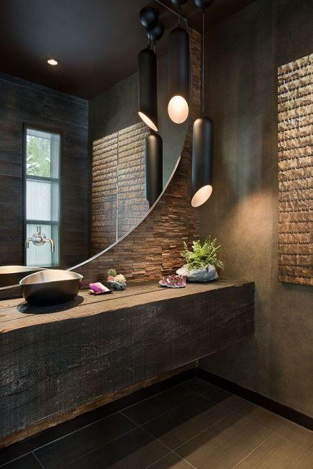 Zdjecie Aranzacja Nowoczesnej Lazienki Z Rustykalnymi Elementami W Ciemnym Kolorze Rustic Bathrooms Amazing Bathrooms Bathroom Design