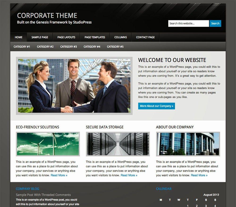 Download Corporate Genesis Child Theme | Free Download Genesis ...