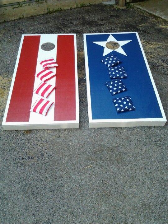 Patriotic Cornhole Boards Perfect For July4th