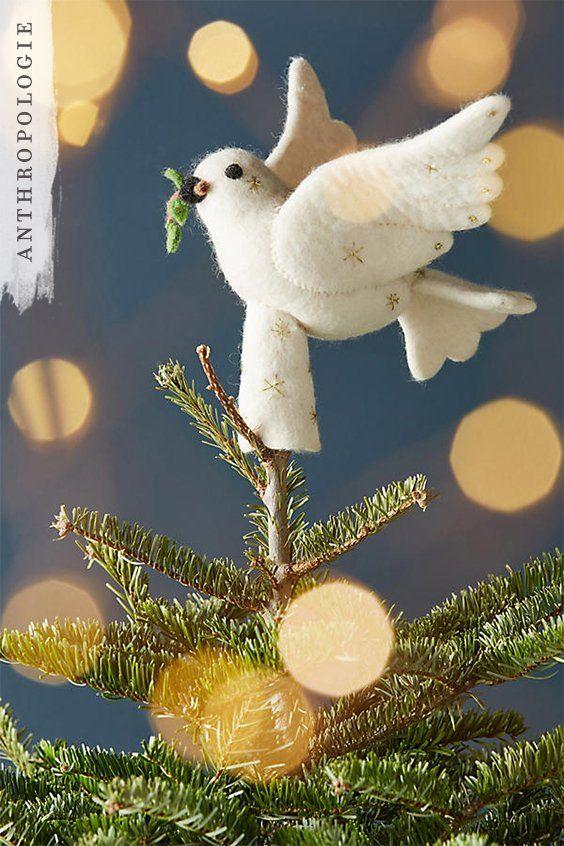 Felted Dove Tree Topper | Shop Anthropologie Christmas Decorations - Felted Dove Tree Topper Winter Can Be Wonderland Pinterest