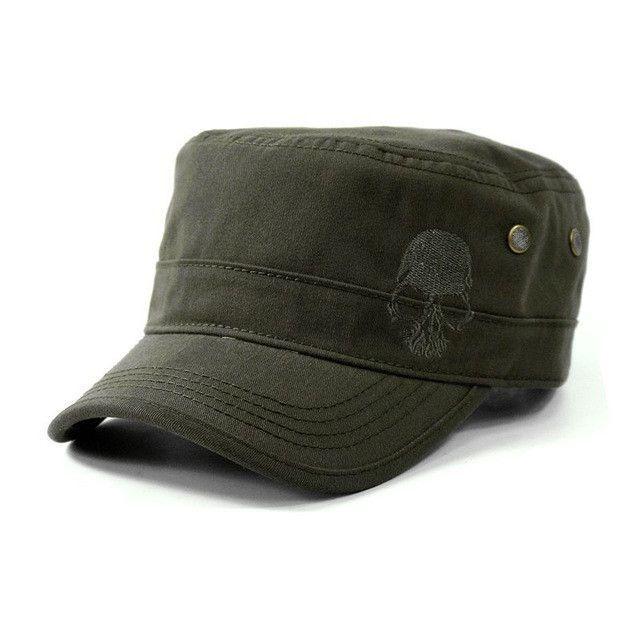 a182fe3773441 Skull Embroidered Logo Men Flat Top Hats Cotton Snapback Flat Cap Army  Cadet Hat Women Baseball Caps Gorros Hombre Hip Hop
