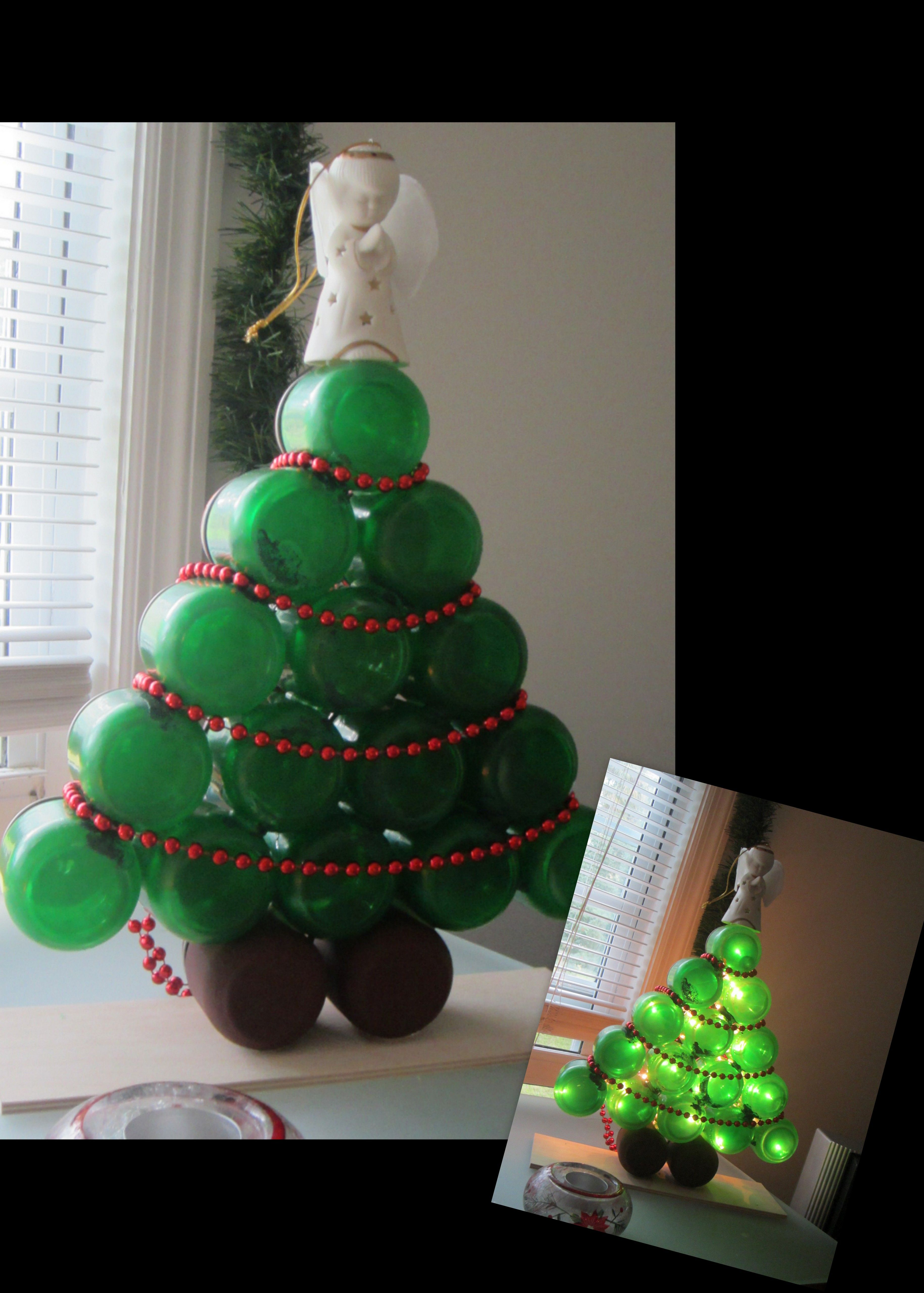 Baby Food Jar Lighted Christmas Tree. *Use white glue mixed with ...