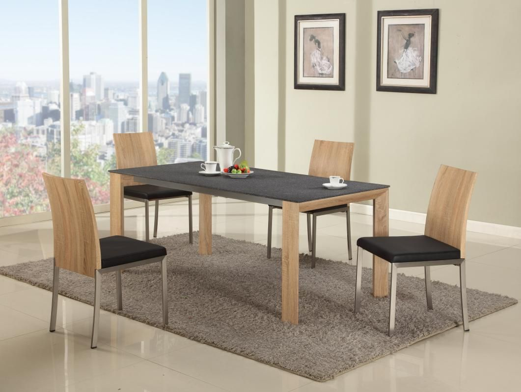 Contemporary Light Oak Dining Set With Black Textured Table Top New Oak Dining Room Review