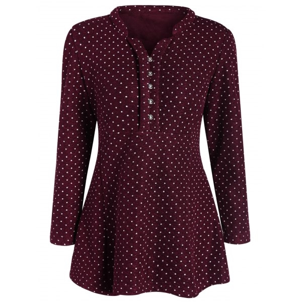 27.1$  Watch now - http://di4fe.justgood.pw/go.php?t=207003403 - Polka Dot Plus Size Long Sleeve Tunic Top