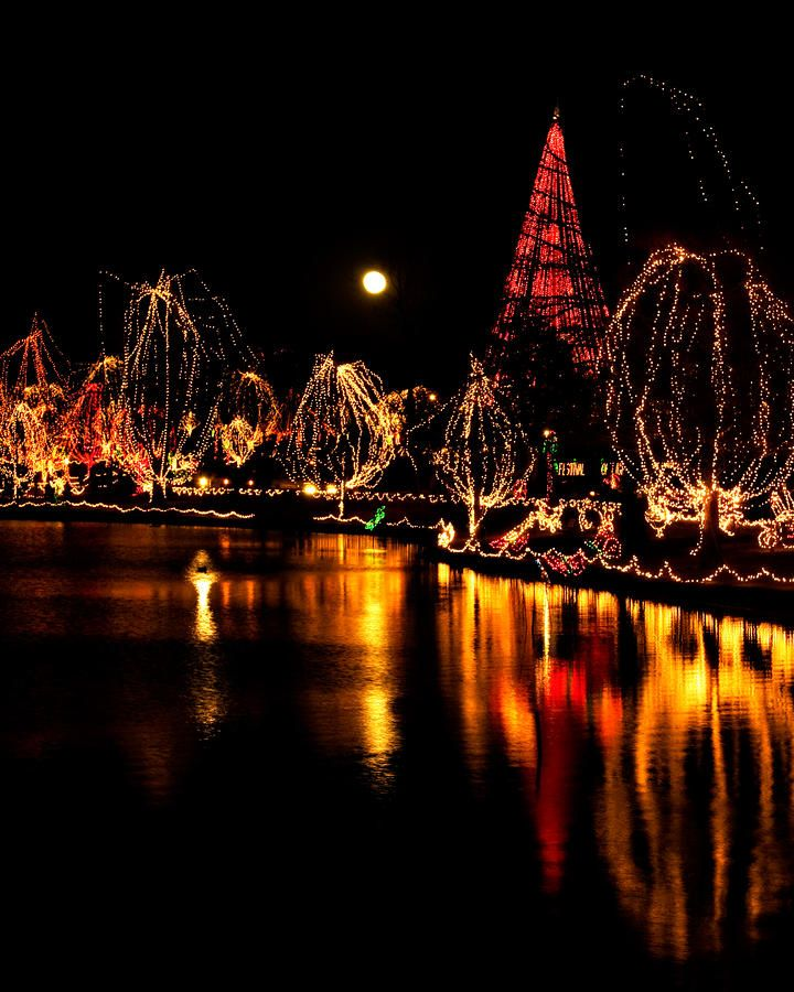 Christmas At The Lake: Christmas Festival Of Lights Glowing On A Lake In