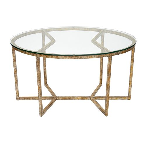 Glass Coffee Tables At Furniture Village: FRN50252 Champagne Oval Gold Leaf Coffe Table 36x24x20