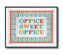 Cross stitched gifts for coworkers, bosses and the office crush: Office Sweet Office