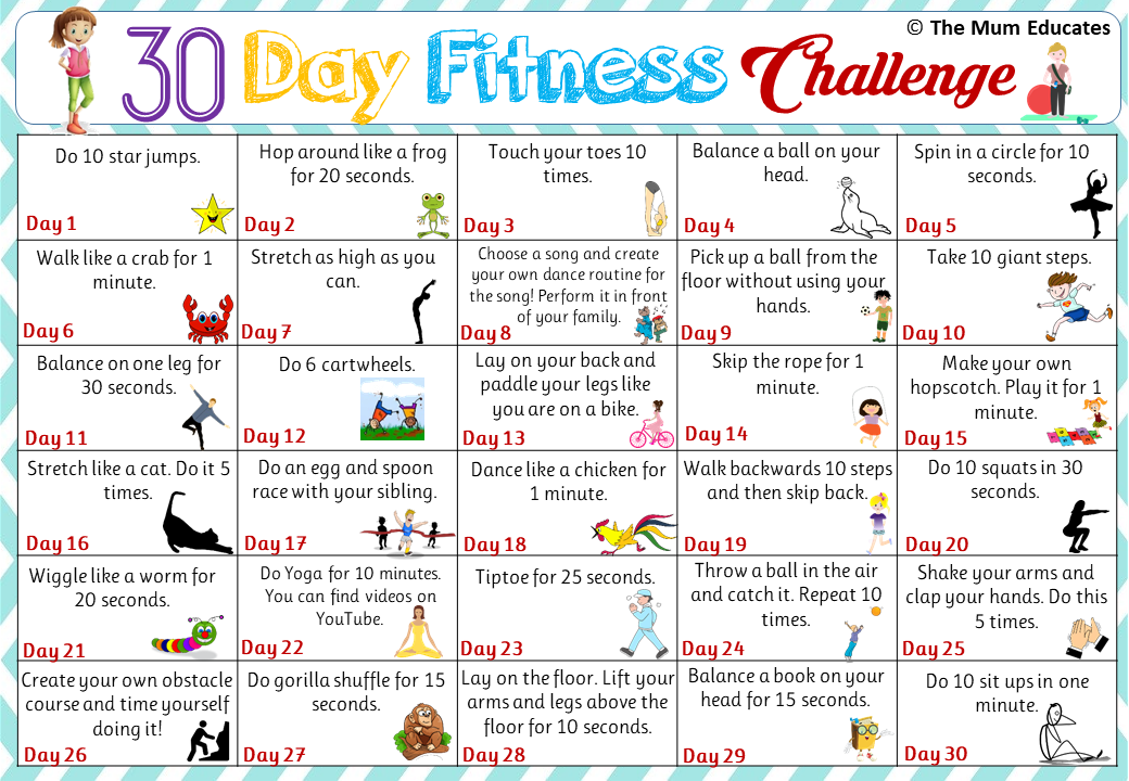 30 Day Kids Fitness Challenge Active Kids The Mum Educates Exercise For Kids Kids Fitness Challenge Physical Activities For Kids