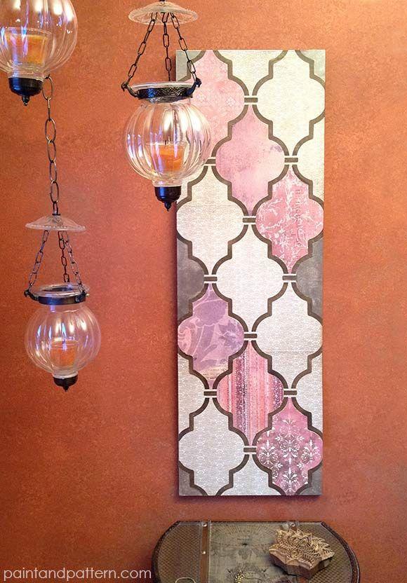 Diy Wall Decor Using Scrapbook Paper : Diy decoupage wall art using scrapbook paper and stencils