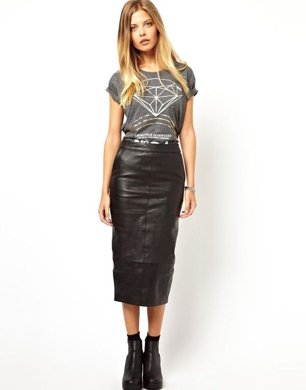 2f3d811392 Long leather skirt | Leather skirts | Fashion, Pencil skirt outfits ...