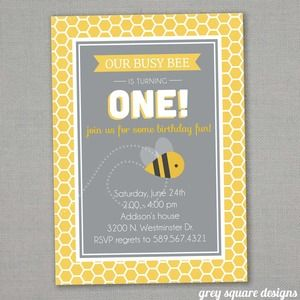 Busy Bee Birthday Invitation