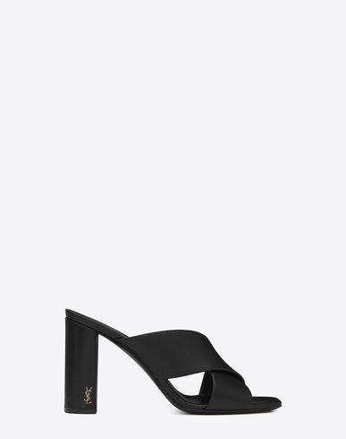 d8a7fe04606 SAINT LAURENT Loulou 95 Mule Sandal In Black Leather.  saintlaurent  shoes