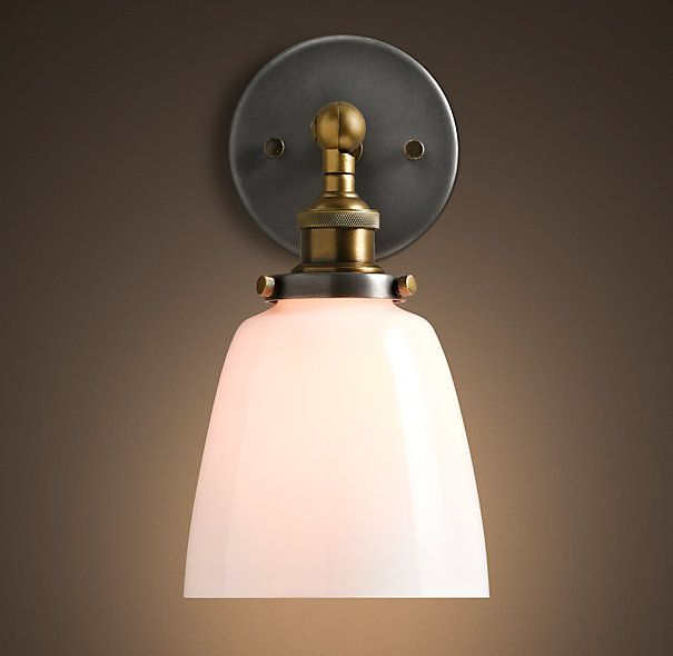 Bathroom Glass Sconces 20th c. factory filament milk glass cloche sconce - aged steel