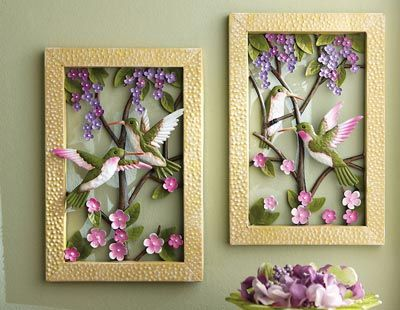 Framed Floral Hummingbird Metal Wall Decor | Humming Bird Decor ...