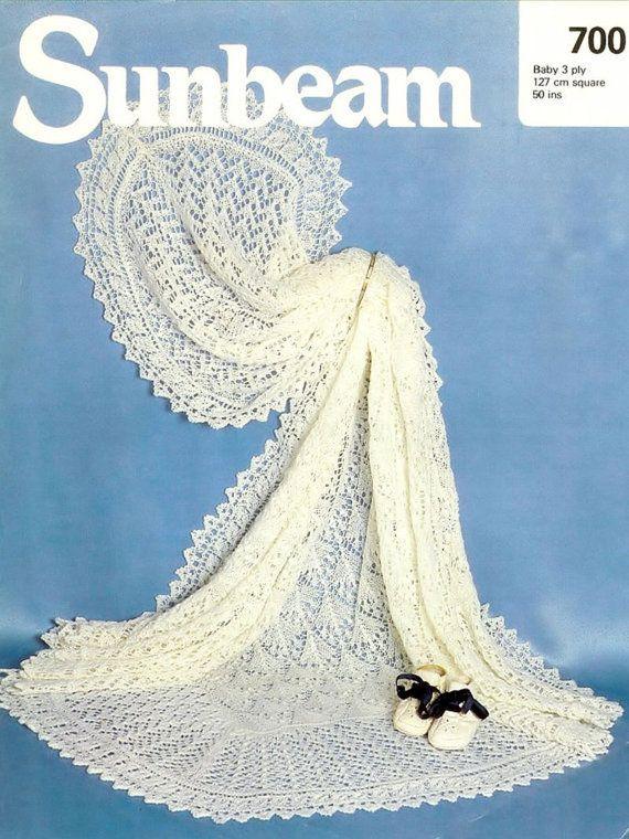 Sunbeam 700 baby shawl vintage knitting pattern christening PDF ...