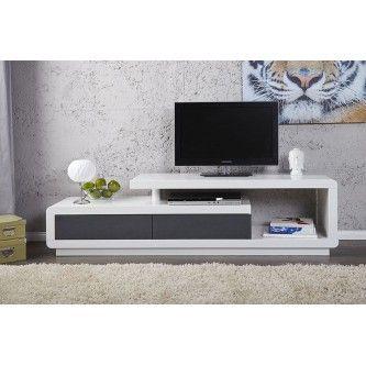 Meuble TV Design Alice Laque Blanc/anthracite 170 Cm