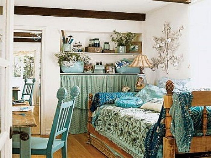 Trying Bohemian Bedding Ideas Blue Shabby Chic Bedroom