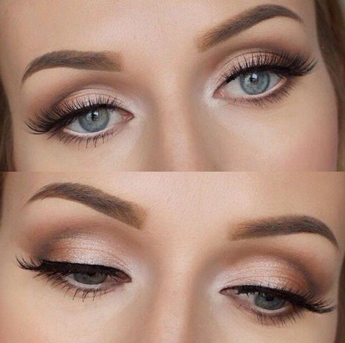 joli maquillage yeux bleus, comment maquiller les yeux bleus nos idées #weddingmakeup #make-upideen