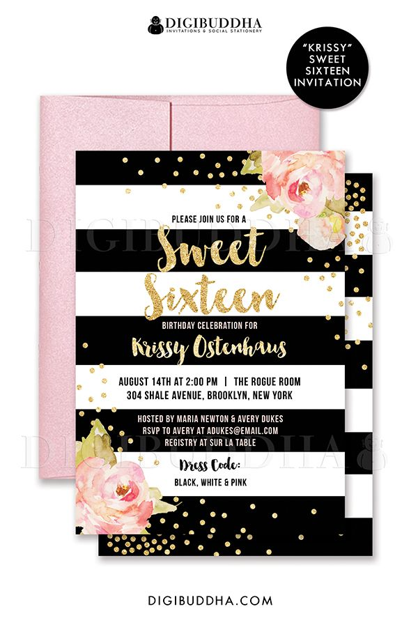 Sweet sixteen invitation black white stripe birthday pink peonies choose from ready made printed invitations with envelopes or printable sweet 16 birthday invitations stopboris Image collections