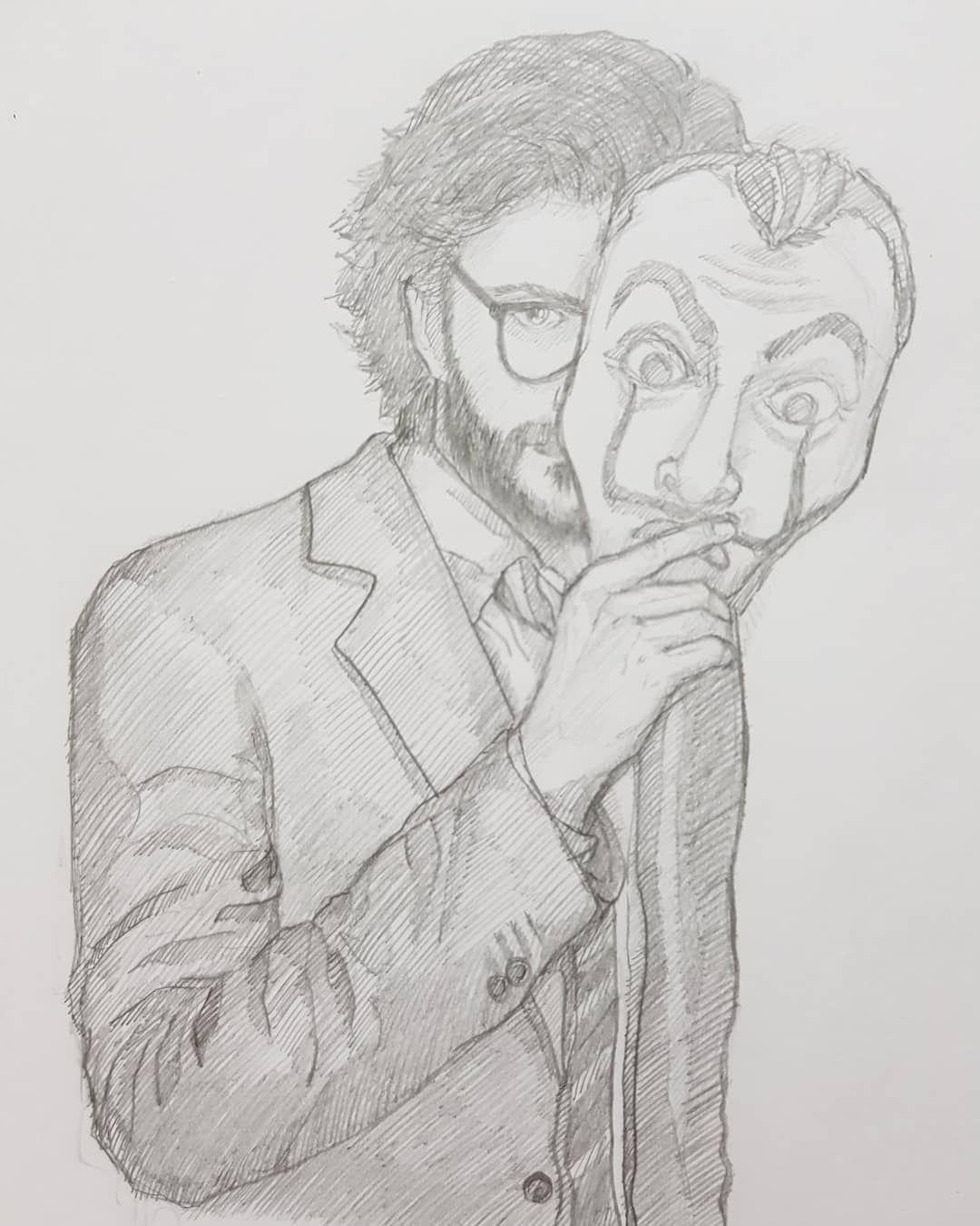 El Profesor referenceused 模写 鉛筆画 人物画 illustration
