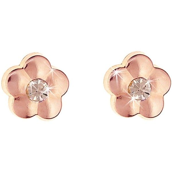 Love Gold 9 Carat Rose Gold Flower Stud Earrings With Peach Crystal 26 Liked On Polyvore Flower Earrings Studs Stud Earrings Yellow Gold Earrings Studs