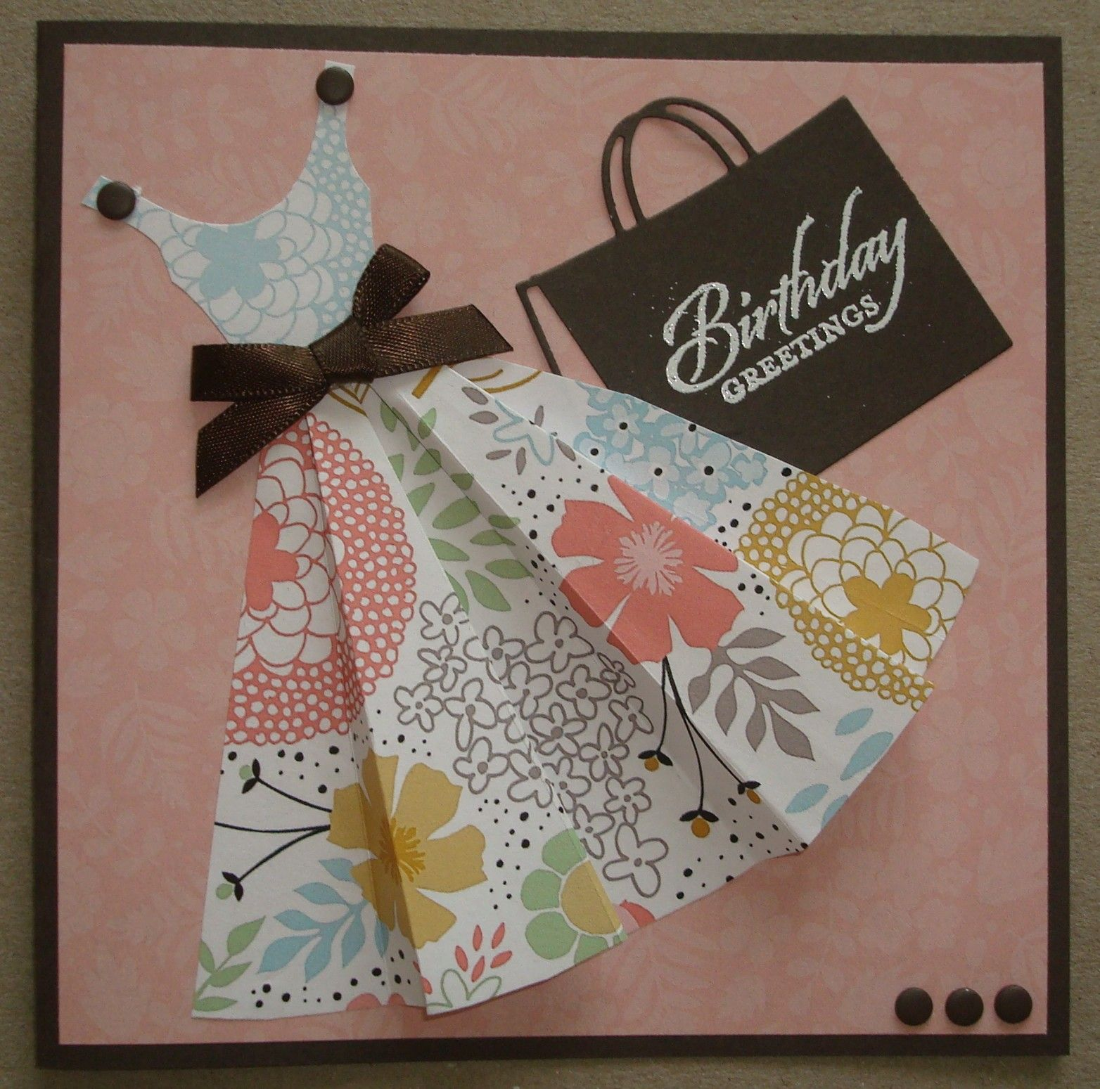 G070 Hand made birthday card using dress template Cards