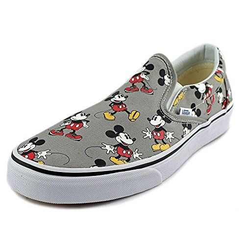 vans classic slip on checkerboard grey mickey mouse