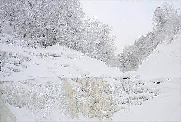 A frozen waterfall is seen in the Taiga region at temperatures of -22 Fahrenheit near the Siberian city of Krasnoyarsk, Jan. 13, 2008.