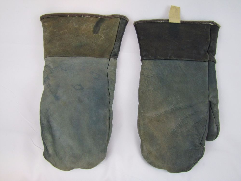 Vintage Genuine Steerhide Soft Durable XL Mittens Gloves with Shearling Lining