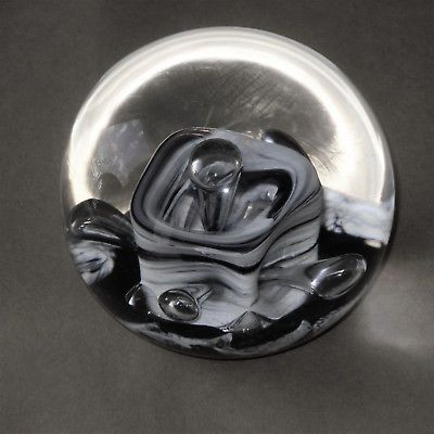 Selkirk glass art glass paperweight 1988 scotland crystal black white signed