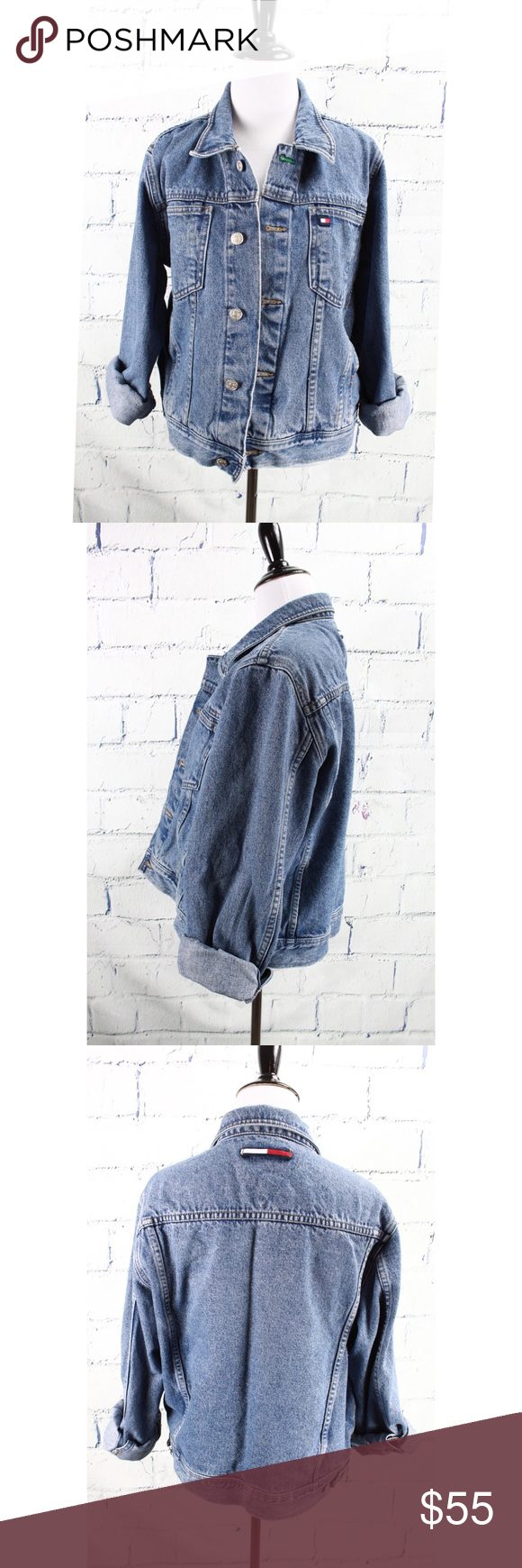 Tommy Hilfiger Women S Denim Jacket Jean Sz Lg Denim Jacket Women Clothes Design Denim Jacket [ 1740 x 580 Pixel ]